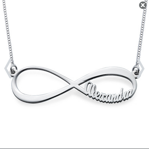 Personalized Sterling Silver Single Name Infinity Necklace
