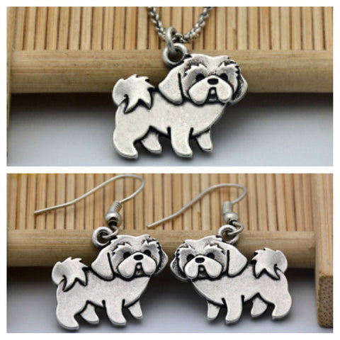 Shih Tzu Necklace and Earring Set