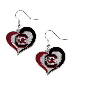 South Carolina Gamecocks Heart Dangle Earrings