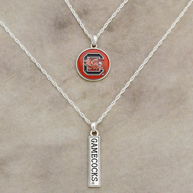 South Carolina Gamecocks Double Necklace with Iridescent Logo and Team Name Charm