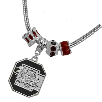 South Carolina Gamecocks Pandora Style Beaded Bracelet