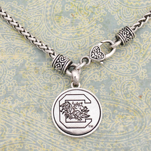 South Carolina Gamecocks Silver Medallion Clasp Necklace