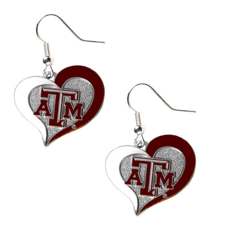 Texas A&M Aggies Heart Dangle Earrings