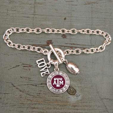 Texas A&M Aggies Love Football Bracelet with Round Crystal Logo