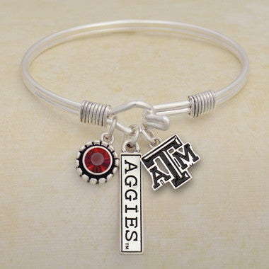 Texas A&M Aggies Tri Bangle 3 Charm Crystal Silver Wire Bracelet