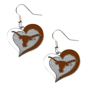 Texas Longhorns Heart Dangle Earrings