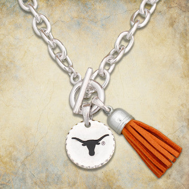 Texas Longhorns Toggle Necklace With Tassle