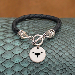 Texas Longhorns Leather Bracelet with Charm