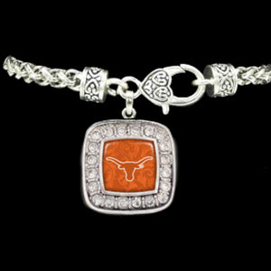 Texas Longhorns Square Crystal Logo Bracelet