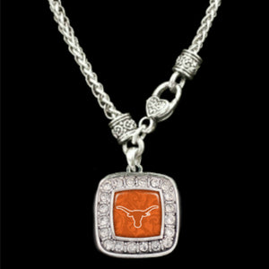 Texas Longhorns Square Crystal Logo Necklace