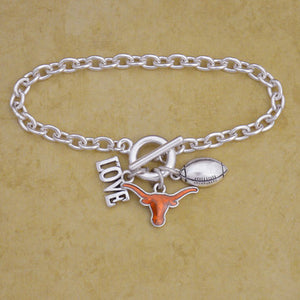 Texas Longhorns Touchdown 3 Charm Iridescent Football Bracelet