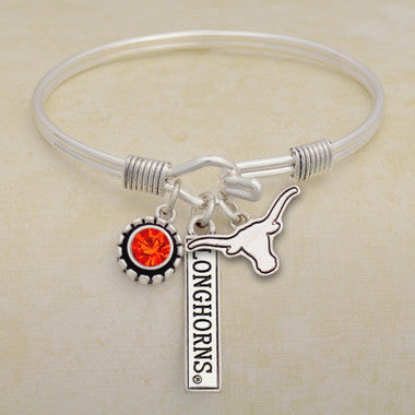 Texas Longhorns Tri Bangle 3 Charm Crystal Silver Wire Bracelet