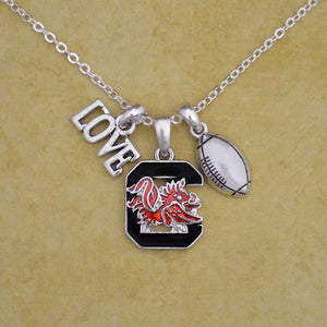 South Carolina Gamecocks Touchdown 3 Charm Iridescent Football Necklace