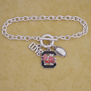 South Carolina Gamecocks Touchdown 3 Charm Iridescent Football Bracelet