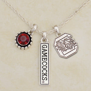 South Carolina Gamecocks Tri Charm Crystal Silver Necklace