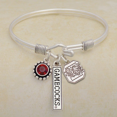 South Carolina Gamecocks Tri Bangle 3 Charm Crystal Silver Wire Bracelet
