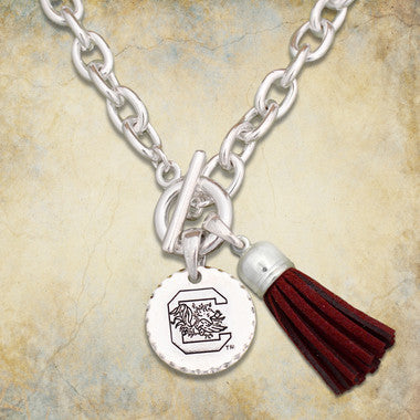 South Carolina Gamecocks Toggle Necklace With Tassle