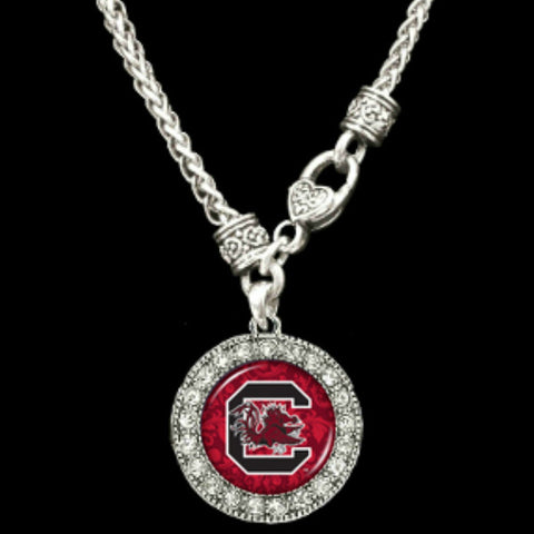 South Carolina Gamecocks Round Crystal Clasp Necklace