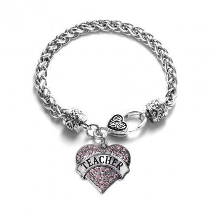 Pink Teacher Pave Heart Charm Bracelet