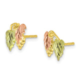 10K Tri-color Black Hills Gold Post Earrings