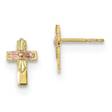 10K Tri-Color Black Hills Gold Cross Earrings