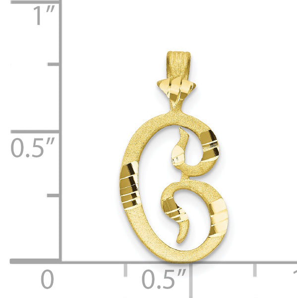 10K Diamond-cut Grooved Initial C Charm