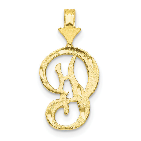 10K Diamond-cut Grooved Initial A Charm