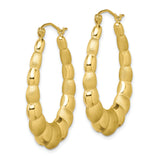 10K Satin & Polished Hollow Fancy Earrings