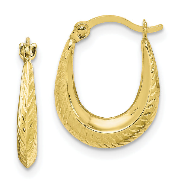 10K Textured Hollow Hoop Earrings