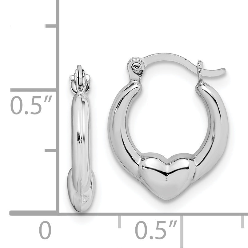 10K White Gold Heart Hollow Hoop Earrings