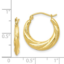 Load image into Gallery viewer, 10K Textured Scalloped Hollow Hoop Earrings