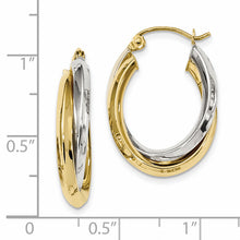 Load image into Gallery viewer, 10K Two-tone Polished Double Oval Hoop Earrings
