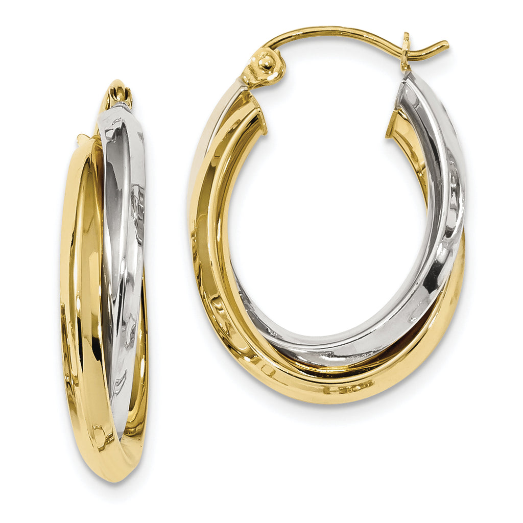 10K Two-tone Polished Double Oval Hoop Earrings