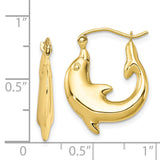 10K Polished Dolphin Hoop Earrings
