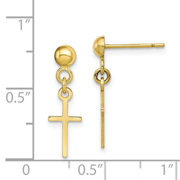 10K YG Polished Cross Dangle Post Earrings