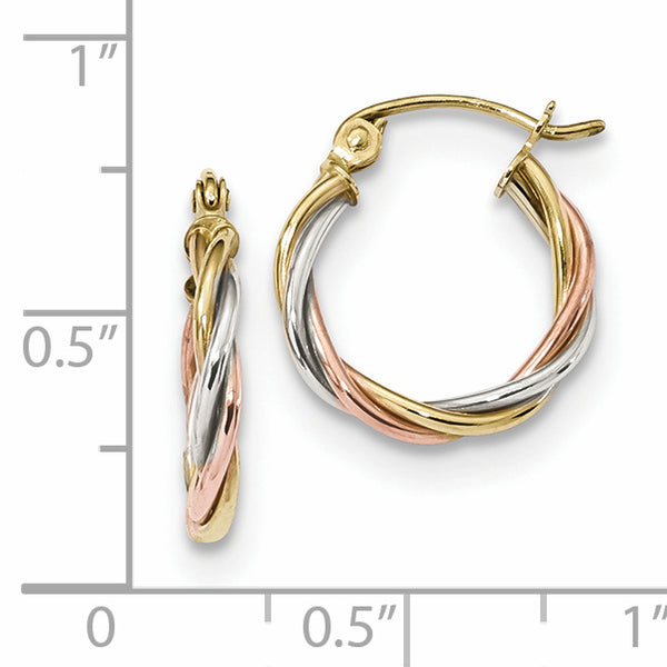 10K Tri-color Polished 2.5mm Twisted Hoop Earrings