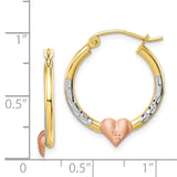 10K Two-tone & White Rhodium Diamond Cut Heart Hoop Earrings