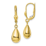 10K Polished Fancy Dangle Leverback Earrings