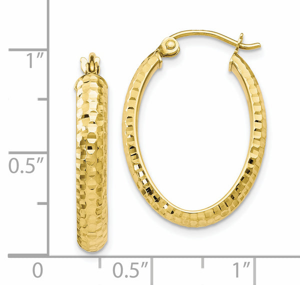 Leslie's 10K Diamond-cut Oval Hinged Hoop Earrings