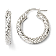 Load image into Gallery viewer, Leslie's 10K White Gold Polished Hinged Hoop Earrings
