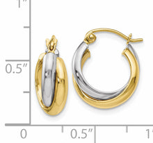 Load image into Gallery viewer, Leslie's 10K Two-Tone Polished Hinged Hoop Earrings