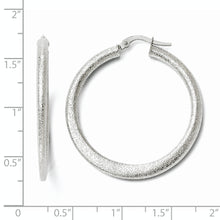 Load image into Gallery viewer, Leslie's 10K White Gold Laser Cut Finish Tappered Hoop Earrings