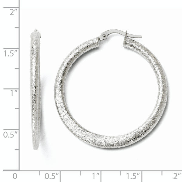 Leslie's 10K White Gold Laser Cut Finish Tappered Hoop Earrings