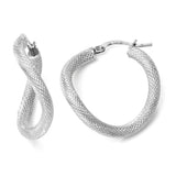 Leslie's 10K White Gold Textured Twisted Hinged Hoop Earrings