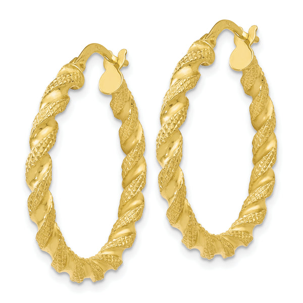Leslie's 10K Polished and Textured Twisted Hinged Hoop Earrings