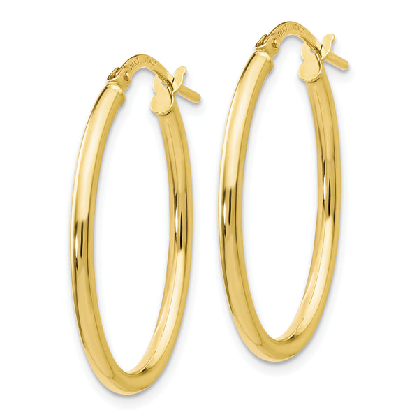 Leslie's 10K Polished Oval Hinged Hoop Earrings