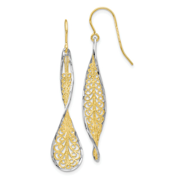 Leslie's 10K Two-tone Diamond-cut Dangle Shepherd Hook Earrings