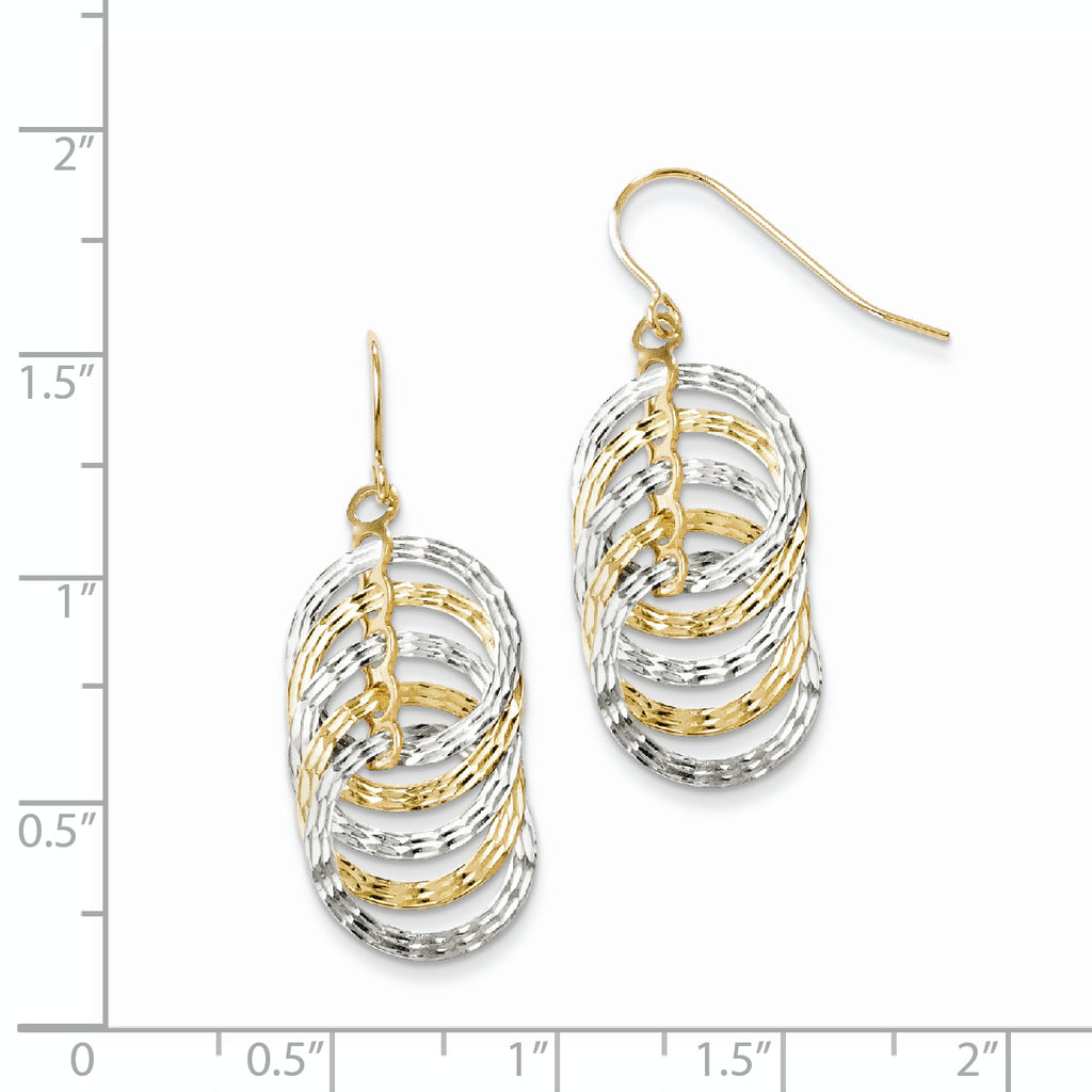 Leslie's 10K Two-tone Polished Diamond-cut Shepherd Hook Earrings