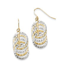 Load image into Gallery viewer, Leslie's 10K Two-tone Polished Diamond-cut Shepherd Hook Earrings