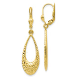 Leslie's 10K Polished and Diamond-cut Dangle Leverback Earrings